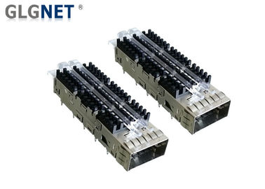 56G Ethernet Single Port QSFP28 Cage With Heat Sink Light Pipe EMI Tabs