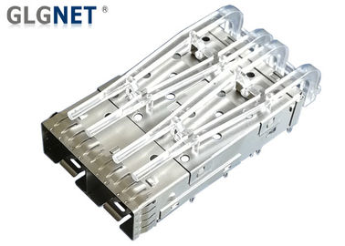 Copper Alloy SFP Cage Connector 2 Ports EMI Shield 10G Ethernet Applied With Light Pipes