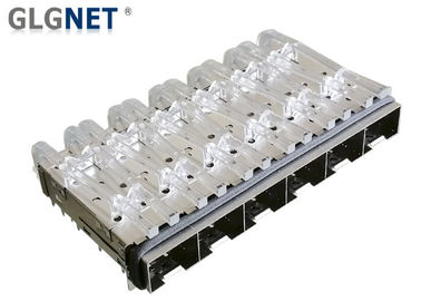 Press Fit Six Ports SFP Cage Assembly Copper Alloy 0.25mm Thickness RoHS Approval