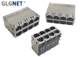 Magnetic 4 Channels 2x4 Stacked 10G RJ45 Connector