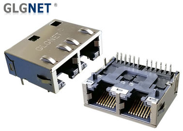 RJ45 Dual Connector 2 porty Right Angle Ethernet Jack Tab Down 1G Magnetyczny montaż PIP